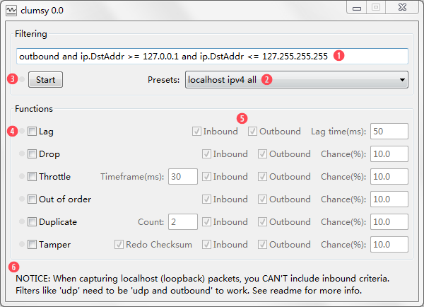 clumsy, an utility for simulating broken network for Windows Vista
